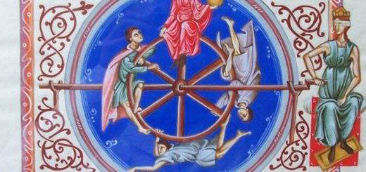 Rappresentazione iconografica della fortuna in una copia di un codice miniato medievale.
