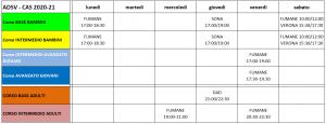 Calendario dei corsi annuali CAS 2021-22